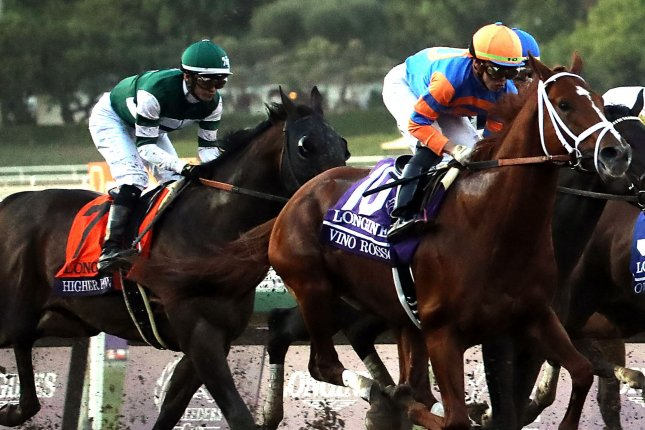 Irad Ortiz, Jr., aboard Vino Rosso, leads the pack on the way to victory in the Breeders Cup Classic during the 36th Breeders Cup World Championship at the Santa Anita Race Track in Arcadia, Calif., on Nov. 2, 2019. File Photo by Mark Abraham/UPI