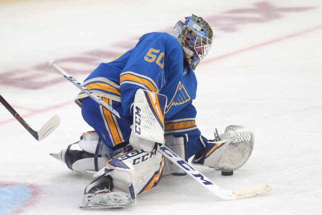 St. Louis Blues goaltender Jordan Binnington was set to become an unrestricted free agent this off-season. File Photo by Bill Greenblatt/UPI
