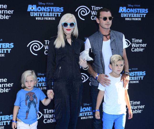 No Doubt lead singer Gwen Stefani and her husband, Bush lead singer Gavin Rossdale and their sons Zuma Nesta Rock Rossdale (L) and Kingston Rossdale (R) attend the premiere of the animated motion picture comedy Monsters University, at the El Capitan Theatre in the Hollywood section of Los Angeles on June 17, 2013. UPI/Jim Ruymen