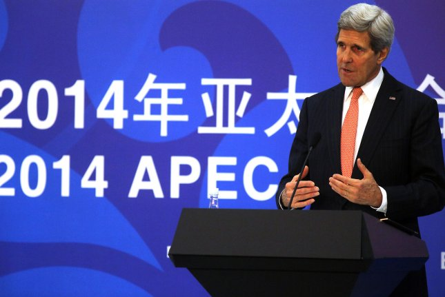 U.S. Secretary of State John Kerry holds a press conference on his meetings to Chinese and foreign journalists during the 26th Asia-Pacific Economic Cooperation (APEC) Ministerial Meeting being held at the China National Convention Center in Beijing on November 8, 2014. UPI/Stephen Shaver