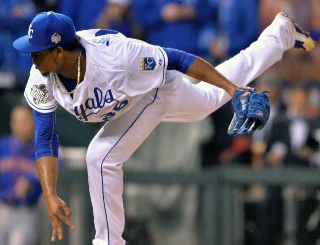 Kansas City Royals starting pitcher Edinson Volquez threw six inning against the New York Mets in game 1 of the World Series at Kauffman Stadium in Kansas City, Missouri on October 27, 2015. Volquez learned after he went to the clubhouse that his father died today at age 63. Photo by Kevin Dietsch/UPI