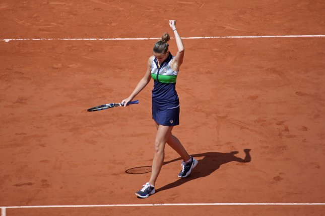 Karolina Pliskova of the Czech Republic acknowledges the crowd after her French Open women's quarterfinal match against Caroline Garcia of France at Roland Garros in Paris on June 7, 2017. Pliskova defeated Garcia 7-6 (3), 6-4 to advance to the semifinals. Photo by David Silpa/UPI