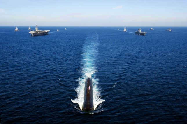U.S. and South Korea navies conducting joint drills in the East Sea, also known as the Sea of Japan. A quake was detected in the waters early Thursday. UPI/Adam K. Thomas/US Navy