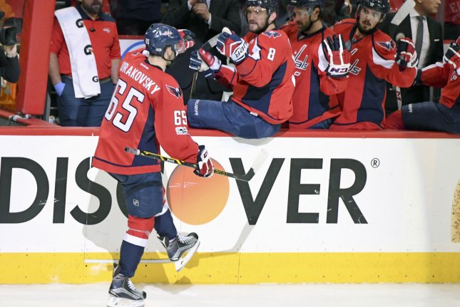 Washington Capitals left wing Andre Burakovsky (65) is congratulated by left wing Alex Ovechkin (8). File photo by Mark Goldman/UPI