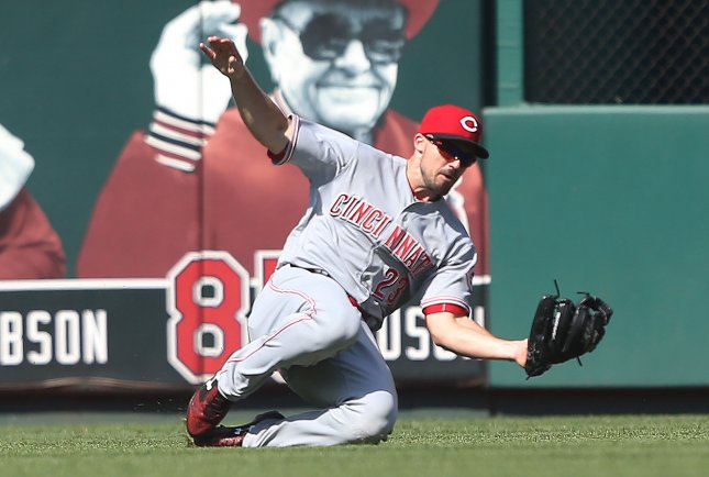 Adam Duvall and the Cincinnati Reds take on the Milwaukee Brewers on Thursday. Photo by Bill Greenblatt/UPI