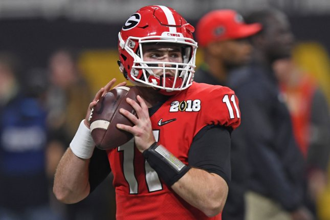 Georgia Bulldogs quarterback Jake Fromm (11) warms up before the NCAA College Football Playoff National Championship Game on January 8 at Mercedes-Benz Stadium in Atlanta. Photo by David Tulis/UPI