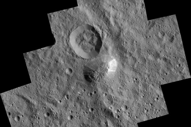 The mysterious mountain Ahuna Mons is seen in this mosaic of images from NASA's Dawn spacecraft. Dawn took these images from its low-altitude mapping orbit in December 2015.