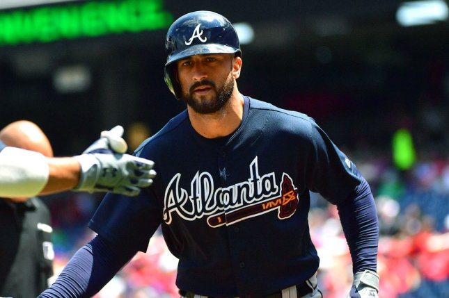 Atlanta Braves outfielder Nick Markakis said in July that he would not play in 2020 due to safety concerns tied to the coronavirus pandemic, but changed his mind Wednesday and will return to the team. File Photo by Kevin Dietsch/UPI