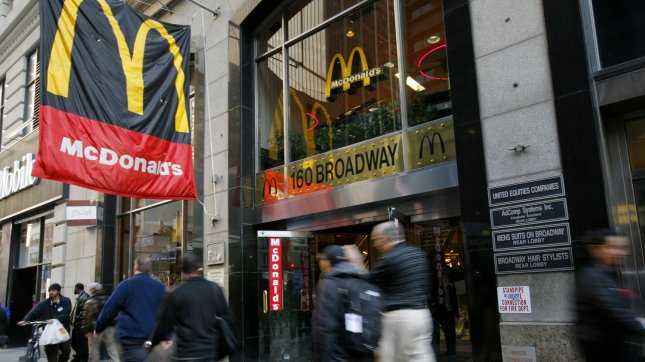 People pass by a McDonald's restaurant in New York City. UPI /Monika Graff.