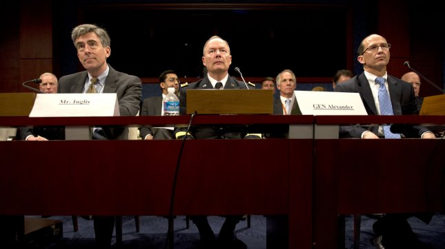Chris Inglis (L), Deputy Director of the NSA, Army Gen. Keith Alexander (C), Director of the National Security Agency, and Sean Joyce, Deputy Director of the Federal Bureau of Investigation, testify during a House Select Intelligence Committee hearing on NSA programs designed to protect Americans, on Capitol Hill in Washington, June 18, 2013. UPI/Kevin Dietsch