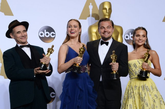 (L-R) Actors Mark Rylance, Brie Larson, Leonardo DiCaprio and Alicia Vikander appear backstage at the 88th Academy Awards, at the Hollywood and Highland Center in the Hollywood section of Los Angeles on February 28, 2016. File Photo by Jim Ruymen/UPI