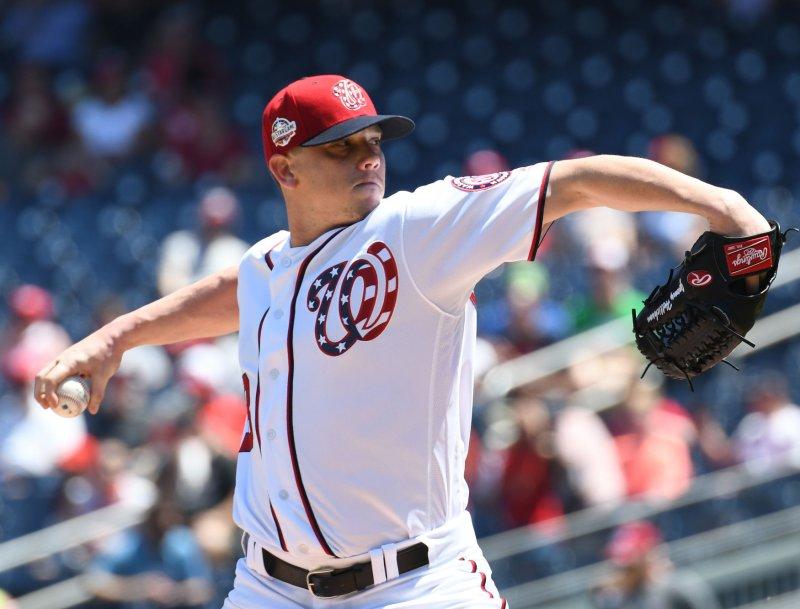 Jeremy Hellickson and the Washington Nationals take on the Atlanta Braves on Sunday. Photo by Pat Benic/UPI