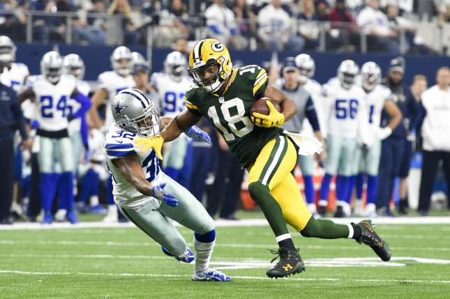 Former Green Bay Packers wide receiver Randall Cobb (18) will earn $5 million on his one-year deal with the Dallas Cowboys. File Photo by Shane Roper/UPI