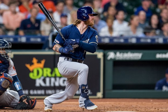 Milwaukee Brewers speedster Ben Gamel has five homers this season after hitting an inside-the-park shot against the Seattle Mariners on Wednesday in Milwaukee. File Photo by Trask Smith/UPI
