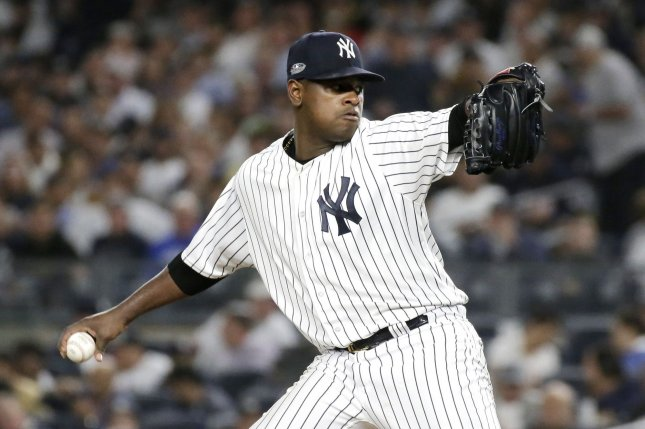 New York Yankees starting pitcher Luis Severino threw four scoreless innings against the Minnesota Twins on Monday night. Photo by John Angelillo/UPI