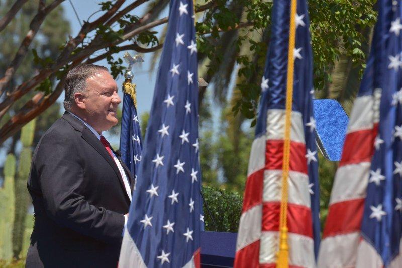 U.S. Secretary of State Mike Pompeo speaks Thursday at the Richard Nixon Presidential Library in Yorba Linda, Calif. Photo by Jim Ruymen/UPI