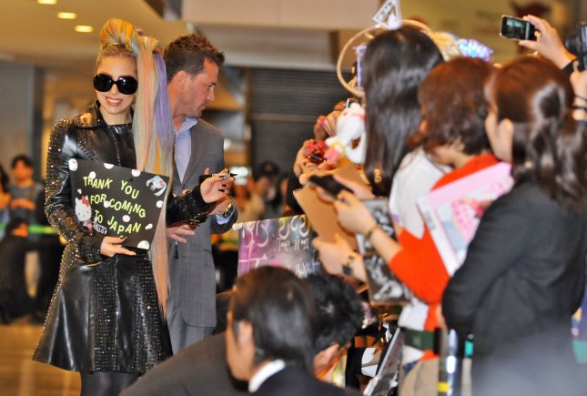 Singer Lady Gaga arrives at Narita International Airport in Chiba Prefecture, Japan on May 8, 2012. UPI/Keizo Mori
