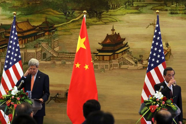 U.S. Secretary of State John Kerry, left, held a joint press conference with Chinese Foreign Minister Wang Yi at the Ministry of Foreign Affairs in Beijing on May 16. China and the United States clashed over a territorial dispute in the South China Sea and on Tuesday Beijing publicly defended the Spratly Islands as sovereign territory. Photo by Stephen Shaver/UPI