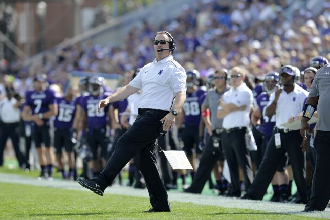 Northwestern head football coach Pat Fitzgerald leads his team this week vs. the Wisconsin Badgers in a critical Big Ten football game for both teams. UPI/Brian Kersey