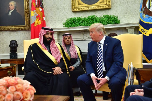President Donald Trump meets Crown Prince Mohammed bin Salman of the Kingdom of Saudi Arabia in the Oval Office at the White House on Tuesday. Photo by Kevin Dietsch/UPI