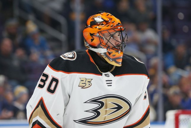 Anaheim Ducks goaltender Ryan Miller skates to his bench during a timeout in the first period against the St. Louis Blues on October 14, 2018 at the Enterprise Center in St. Louis. Photo by Bill Greenblatt/UPI