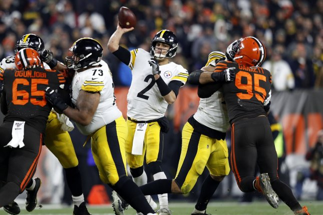 Pittsburgh Steelers quarterback Mason Rudolph (2) was accused of using a racial slur toward Myles Garrett prior to a brawl during last Thursday's game between the Cleveland Browns and Steelers. Photo by Aaron Josefczyk/UPI