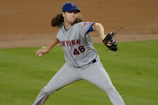 New York Mets' staring pitcher Jacob deGrom delivers against the Los Angeles Dodgers in the fifth inning in game 1 of the National League Division Series at Dodgers Stadium in Los Angeles on October 9, 2015. Photo by Jim Ruymen/UPI