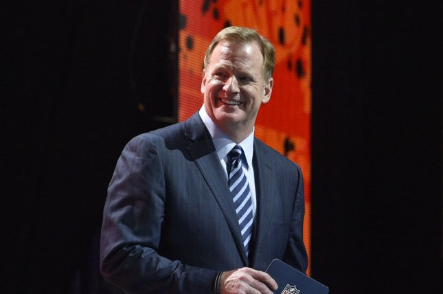 NFL Commissioner Roger Goodell smiles as he walks to the stage during the 2017 NFL Draft at the NFL Draft Theater in Philadelphia, PA on April 27, 2017. The 82nd NFL Draft returned to Philadelphia for the first time in more than 50 years and runs from April 27-29. Photo by Derik Hamilton/UPI