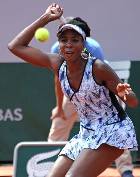 Venus Williams returns a shot during the French Open in May. Photo by David Silpa/UPI