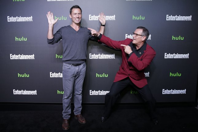 Jeffrey Donovan (L) and Bruce Campbell (R) arrive on the red carpet Hulu's New York Comic Con after party on October 6 in New York City. File Photo by John Angelillo/UPI