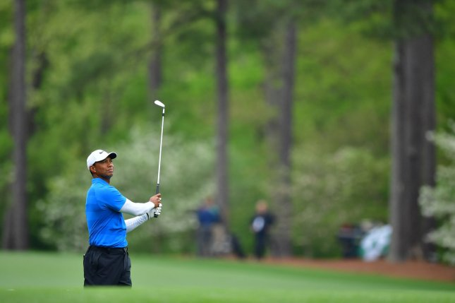 Tiger Woods watches his hit off of the 11th tee during the third round of the 2018 Masters Tournament on April 7 at the Augusta National Golf Club in Augusta, Ga. Photo by Kevin Dietsch/UPI