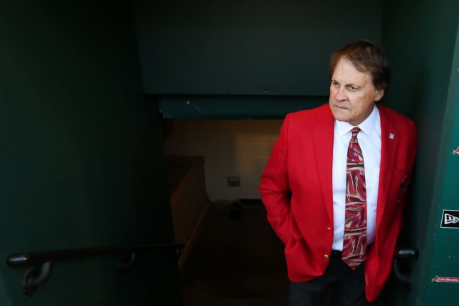 Former St. Louis Cardinals manager and member of the National Baseball Hall of Fame, Tony La Russa watches pre game festivities before the Arizona Diamondbacks-St. Louis Cardinals baseball game on April 5 at Busch Stadium in St. Louis. Photo by Bill Greenblatt/UPI