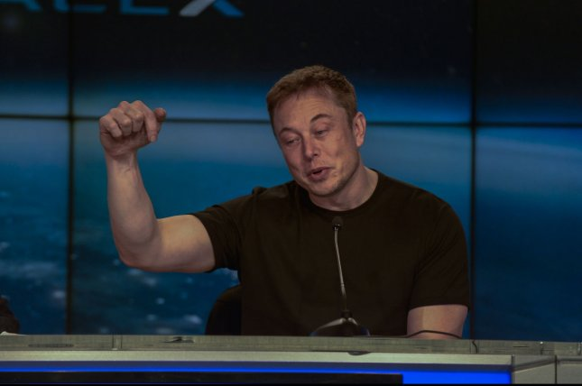 Tesla founder and SpaceX chief Elon Musk speaks at the Kennedy Space Center in Florida on February 6. File Photo by Joe Marino/Bill Cantrell-UPI