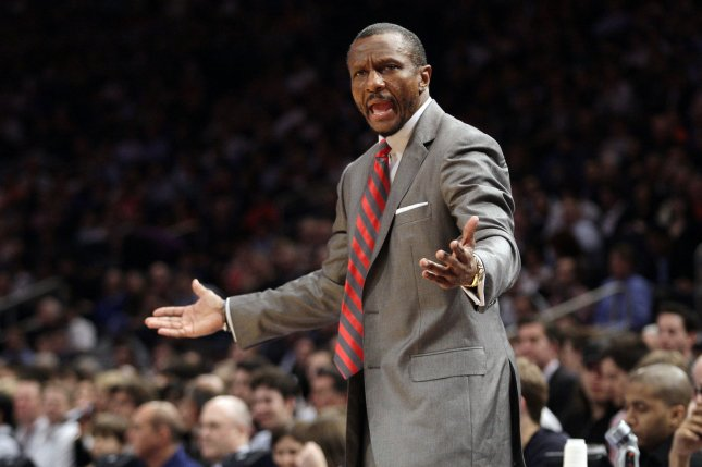 Former Toronto Raptors and current Detroit Pistons head coach Dwane Casey reacts at a player in the first quarter against the New York Knicks on March 20, 2012 at Madison Square Garden in New York City. File photo by John Angelillo/UPI