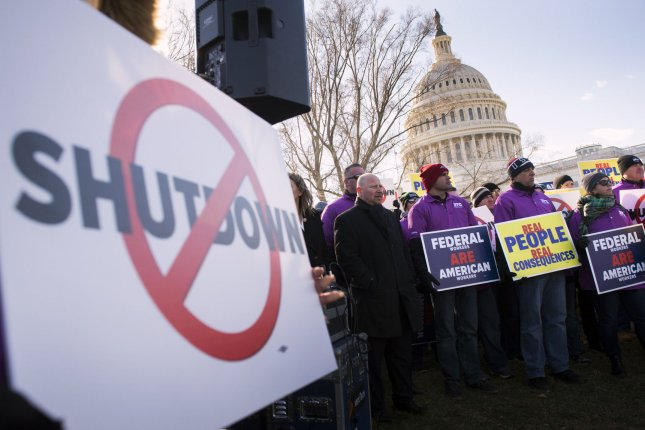 Members and supporters of the National Air Controllers Association and other aviation industry associations protest the partial federal government shutdown at the U.S. Capitol in Washington, D.C., on January 10, 2019. Congress and President Trump remain at a budget stalemate as Democrats refuse to provide Trump with the $5.7 billion funding request for a southern border wall. Photo by Kevin Dietsch/UPI