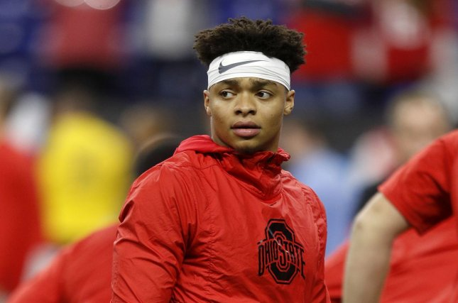 Ohio State Buckeyes quarterback Justin Fields' online petition has generated more than 200,000 signatures as of Sunday night. File Photo by Aaron Josefczyk/UPI