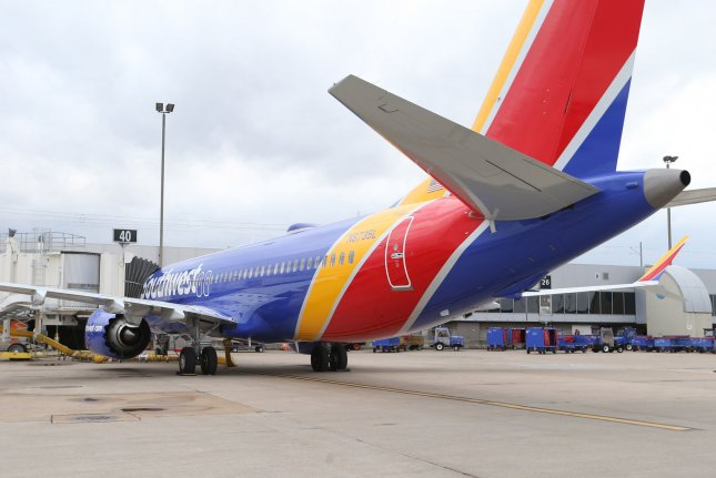 A Southwest Airlines 737 Max 8 is parked at Gate 40 at St. Louis-Lambert International Airport in St. Louis, Mo., on March 13, 2019. File Photo by Bill Greenblatt/UPI