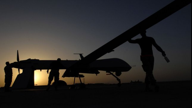 An MQ-1 Predator unmanned aerial vehicle prior to a night mission from Ali Air Base, Iraq. UPI/Jonathan Snyder/U.S. Air Force