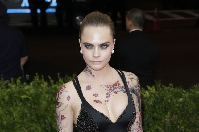 Cara Delevingne at the Costume Institute Benefit at the Metropolitan Museum of Art on May 4. The model voiced her support for same-sex relationships at the Sydney premiere of 'Paper Towns.' File photo by John Angelillo/UPI