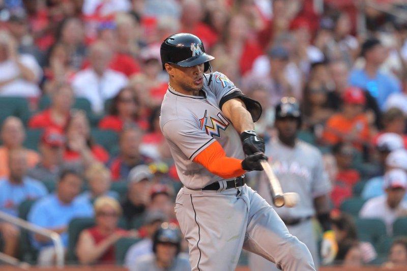 Miami Marlins' Giancarlo Stanton swings. File photo by Bill Greenblatt/UPI
