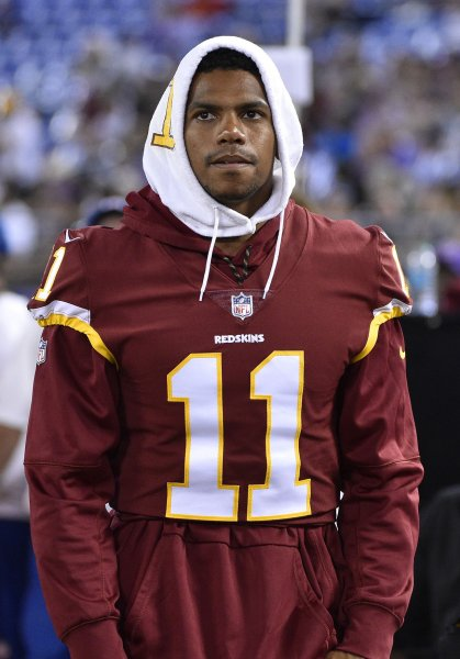 Wide receiver Terrelle Pryor watches from the sidelines as a member of the Washington Redskins during a preseason game vs. the Baltimore Ravens in August. Photo by David Tulis/UPI