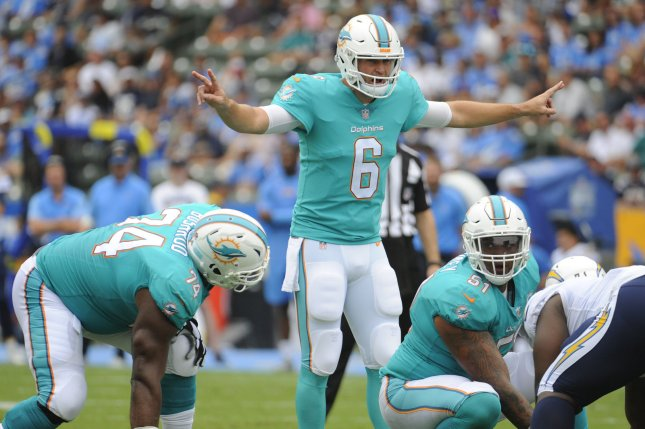 Former Miami Dolphins quarterback Jay Cutler (6) calls a play in the first half against the Los Angeles Chargers on September 17, 2017 at the StubHub Center in Carson, California. Photo by Lori Shepler/UPI