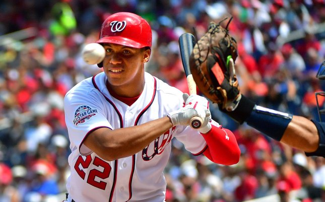 Juan Soto and the Washington Nationals face the Atlanta Braves on Sunday. Photo by Kevin Dietsch/UPI