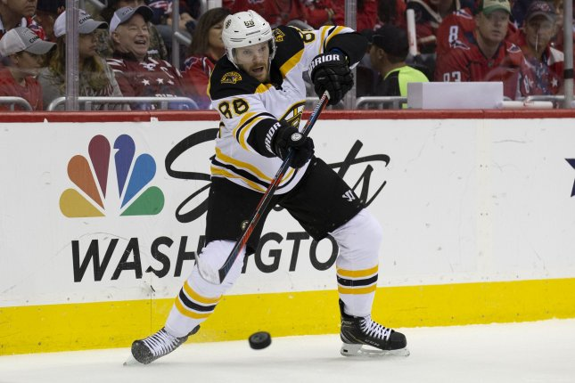 Boston Bruins right winger David Pastrnak (88) will miss at least the next two weeks after having thumb surgery. File Photo by Alex Edelman/UPI