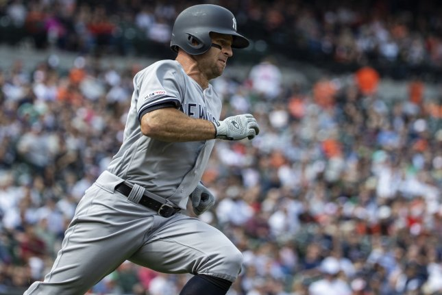 New York Yankees catcher Gary Sanchez (24) is back with the team after spending time on the injured list since April 10 because of a calf injury. Sanchez hit six homers in the first 11 games he played in. File Photo by Alex Edelman/UPI