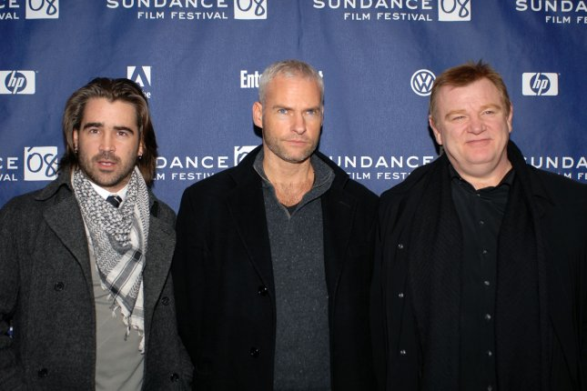 (L-R) In Bruges collaborators Colin Farrell, Martin McDonagh and Brendan Gleeson are set to make another film together this summer. File Photo by Alexis C. Glenn/UPI