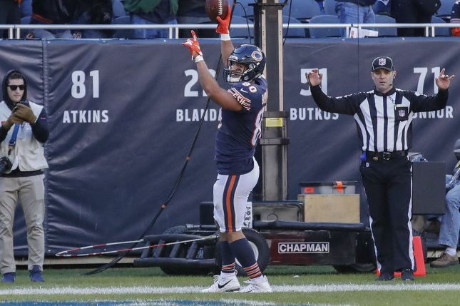 Former Bears tight end Trey Burton was released by Chicago last week after two seasons with the team. File Photo by Kamil Krzaczynski/UPI