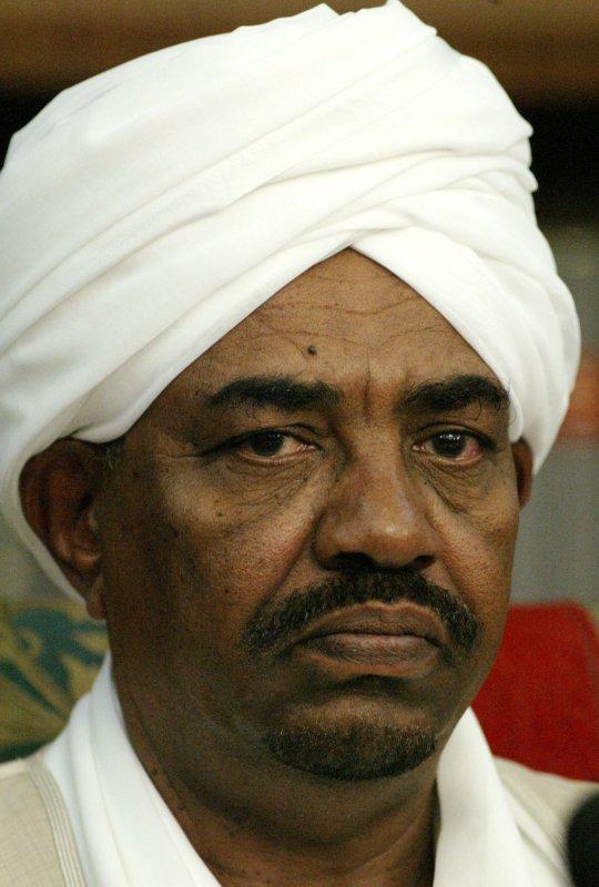 Sudanese President Omar al-Bashir attends his official departure ceremony in Tehran, Iran, April 26, 2006. (UPI Photo/Mohammad Kheirkhah)