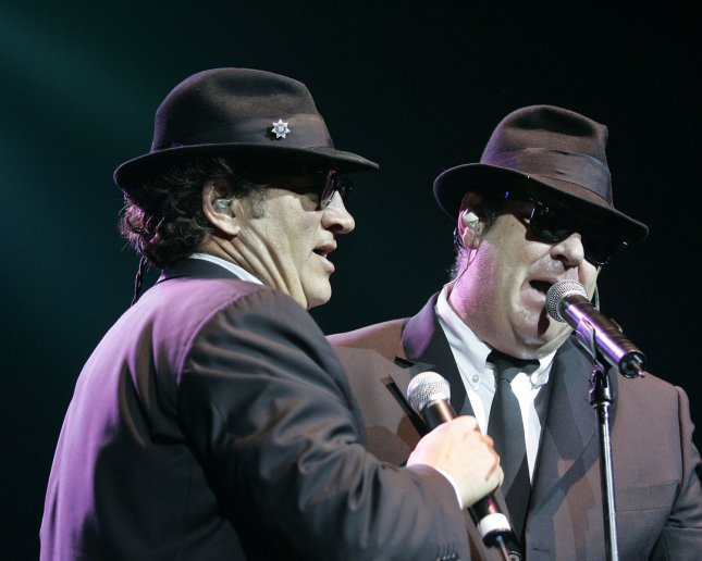 Jim Belushi(L) and Dan Aykroyd , The Blue's Brothers perform in concert at the Seminole Hard Rock Hotel and Casino in Hollywood, Florida on May 4, 2006. (UPI Photo/Michael Bush)