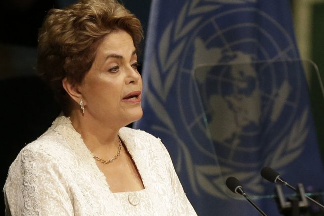 President Federative Republic of Brazil Dilma Rousseff speaks at the Paris Agreement on Climate Change meeting at the headquarters of the United Nations in New York City on April 22, 2016. Facing impeachment, Rousseff took the opportunity in New York to seek international support against who she calls coup mongers. Photo by John Angelillo/UPI